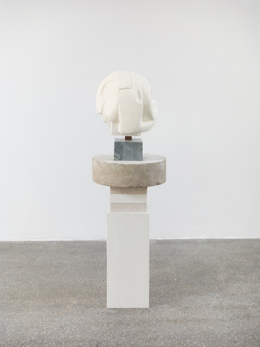 Christina Kruse, <i>Will o' the wisp [detail]</i>, 2021, plaster, wax, wood, metal, concrete, soapstone, Ytong building blocks (sculpture only), 52 x 18 x 20 in. (132.1 x 45.7 x 50.8 cm)
