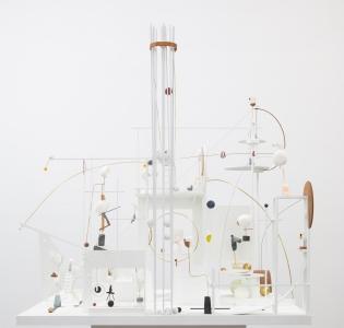 Christina Kruse, <i>Lunapark</i>, 2021, plaster, wood, brass, metal, glass, soapstone, alabaster, paint, 76 x 42 x 43 in (193 x 106.7 x 109.2 cm)