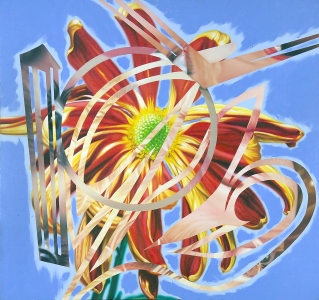 James Rosenquist, <i>China bugle</i>, 1988, oil on canvas laid on panel, 42 x 45 in. (106.7 x 114.3 cm)