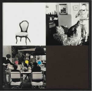 John Baldessari, <i>Eating and sitting</i>, 1997, acrylic and printed paper collage on gelatin silver prints mounted on paper mounted on cintra, 20 5/8 x 20¾ in. (52.3 x 52.7 cm.)