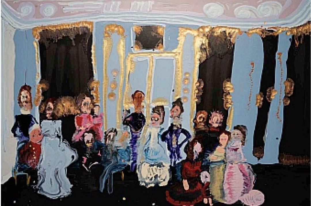 Genieve Figgis, <i>Royal Friends</i>, 2020, acrylic on canvas, 31 1/2 x 47 1/4 in. (80.01 x 120.02 cm)